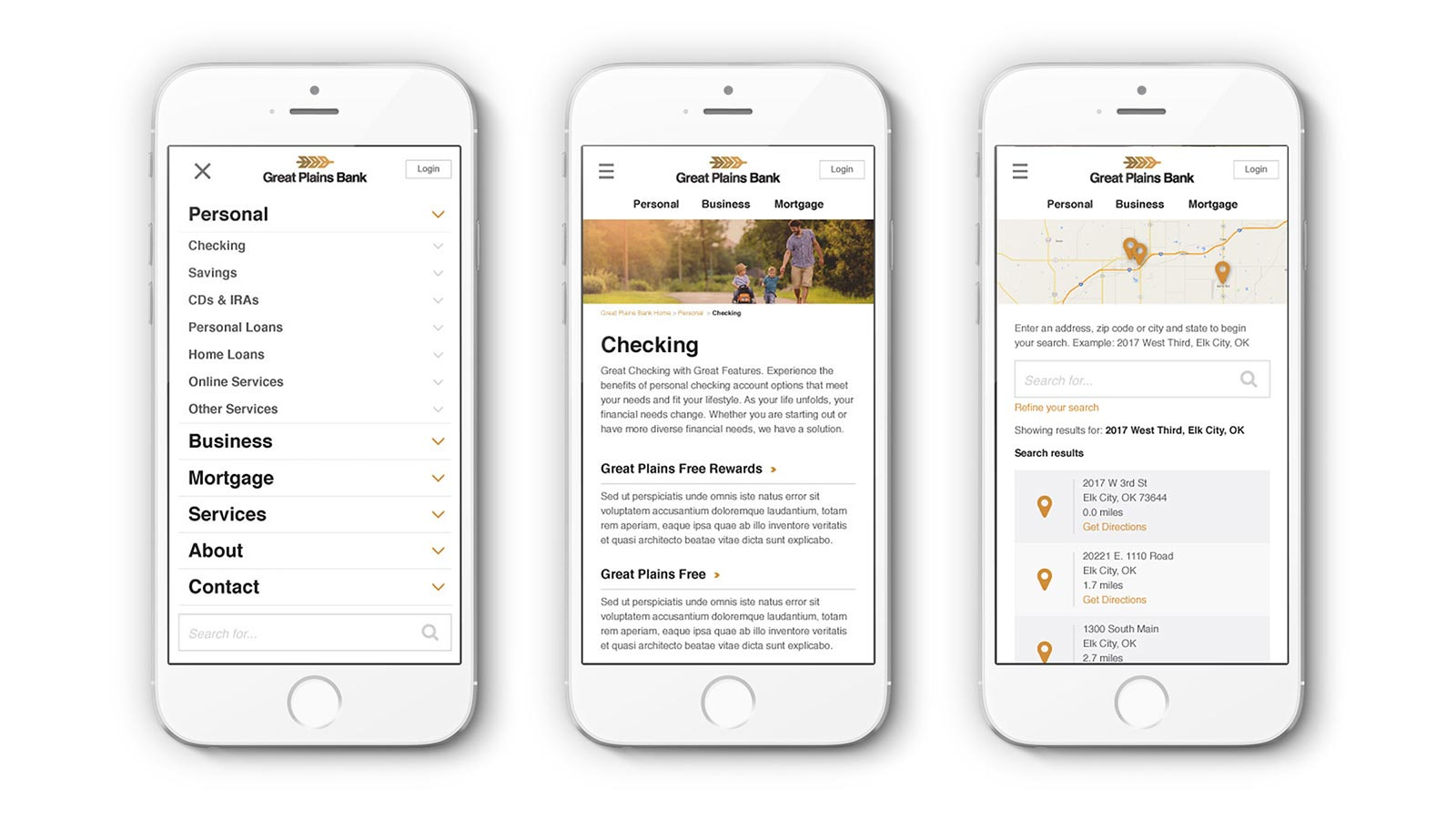 Mobile responsive website design for Great Plains Bank