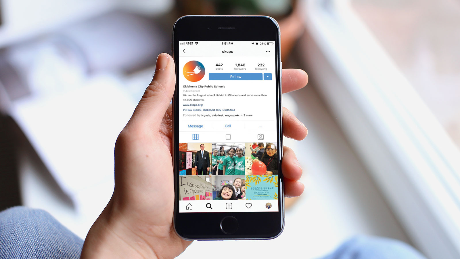 Instagram mockup for Oklahoma public schools branding and identity
