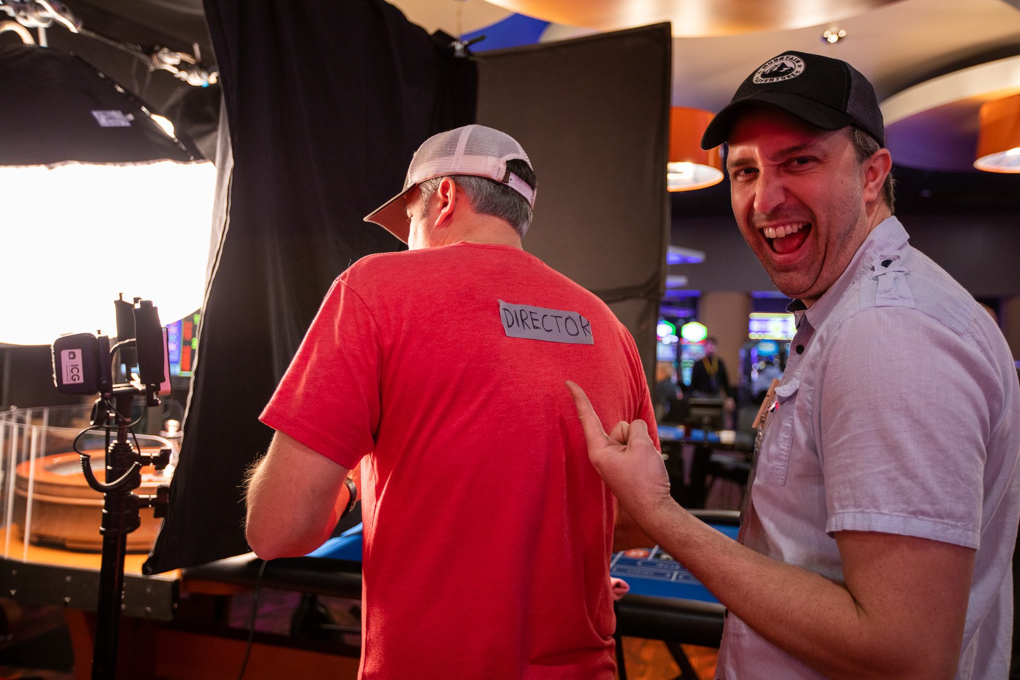 Behind the scenes at a casino commercial shoot