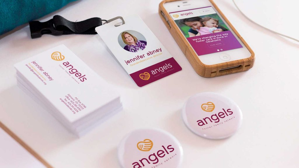 Angels Foster Family Network print and digital branding pieces