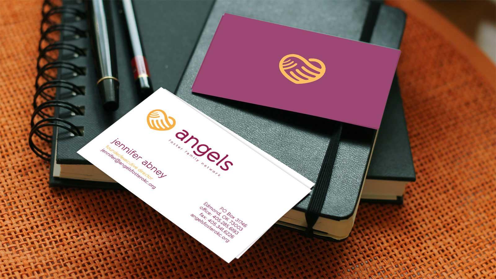 Angels Foster Family Network branding business card print design