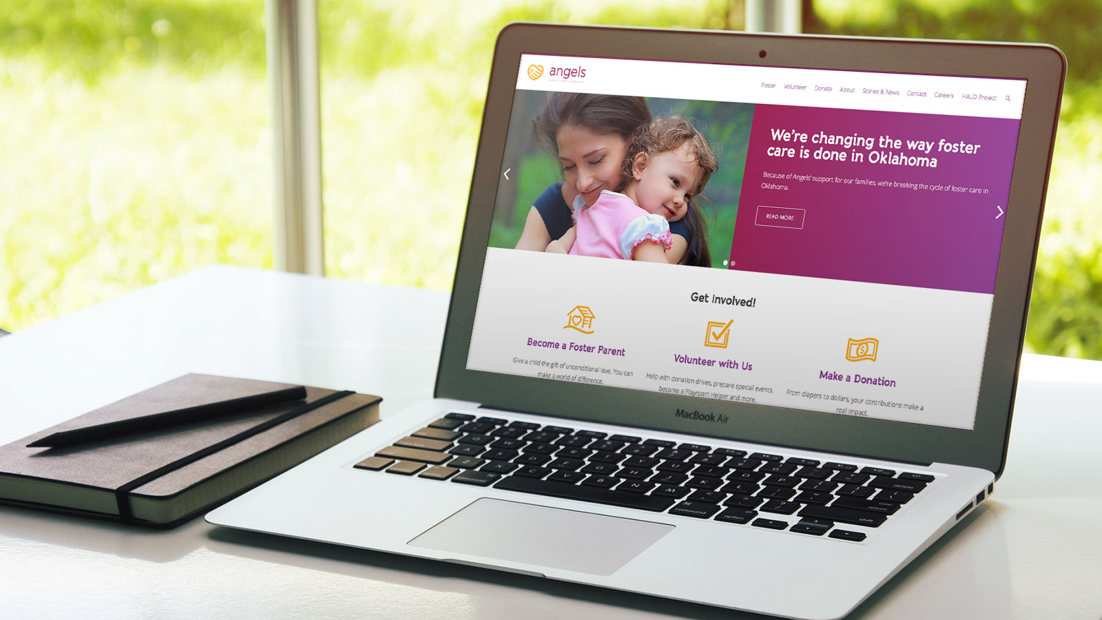 Angels Foster Family Network rebrand graphic design and website design