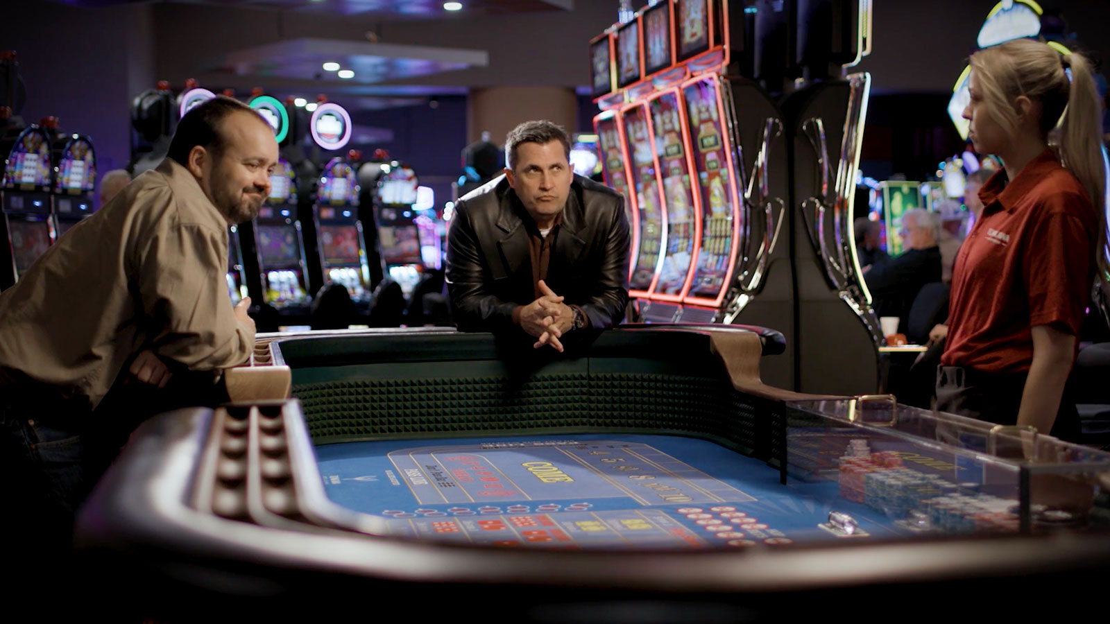 Clint and Daryl practice their craps and roulette technique at Tonkawa Casino & Hotel