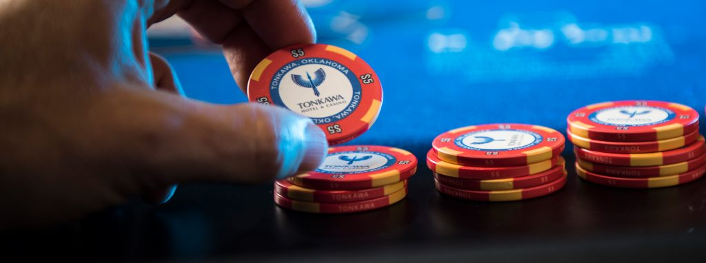 The Tonkawa Hotel & Casino branding/logo on a poker chip