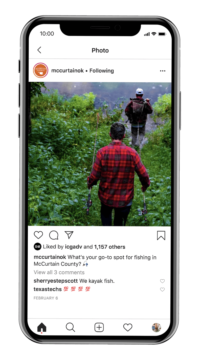Fishing in McCurtain County, Oklahoma. Social media tourism marketing and branding