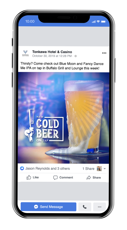 Food & beverage specials for Tonkawa Hotel & Casino branding and marketing on social media