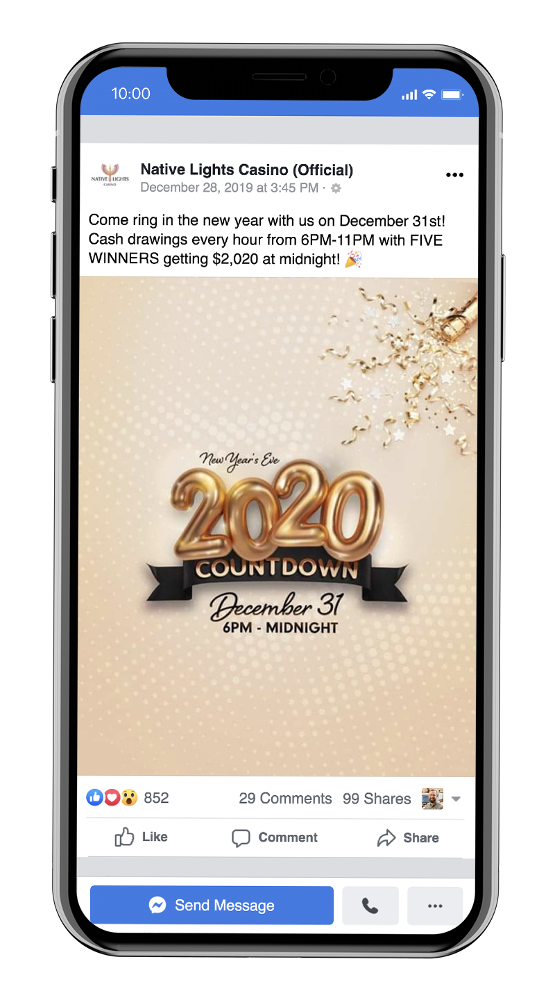New Years Eve is a big night for promotions at Native Lights Casino
