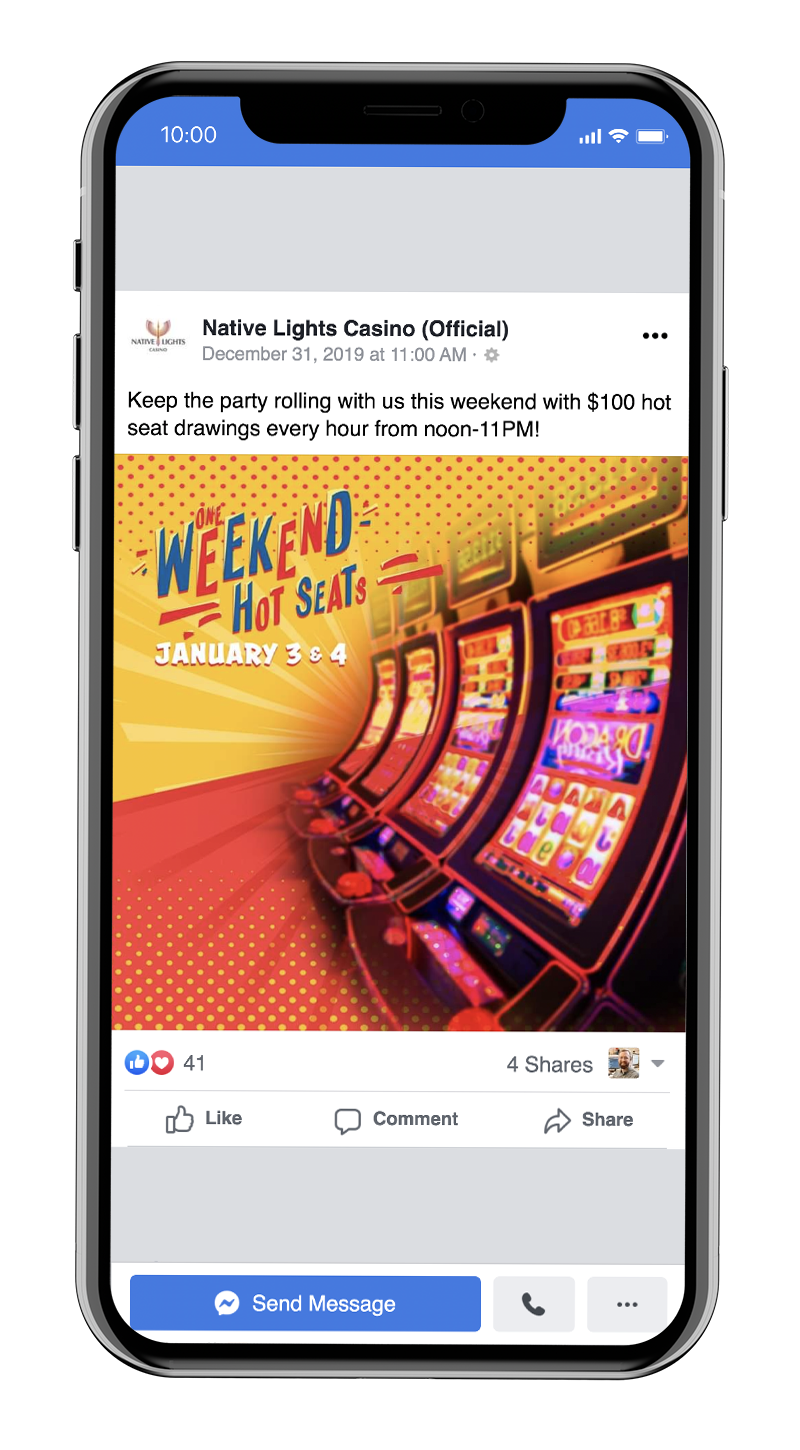 Casino promotion on Facebook