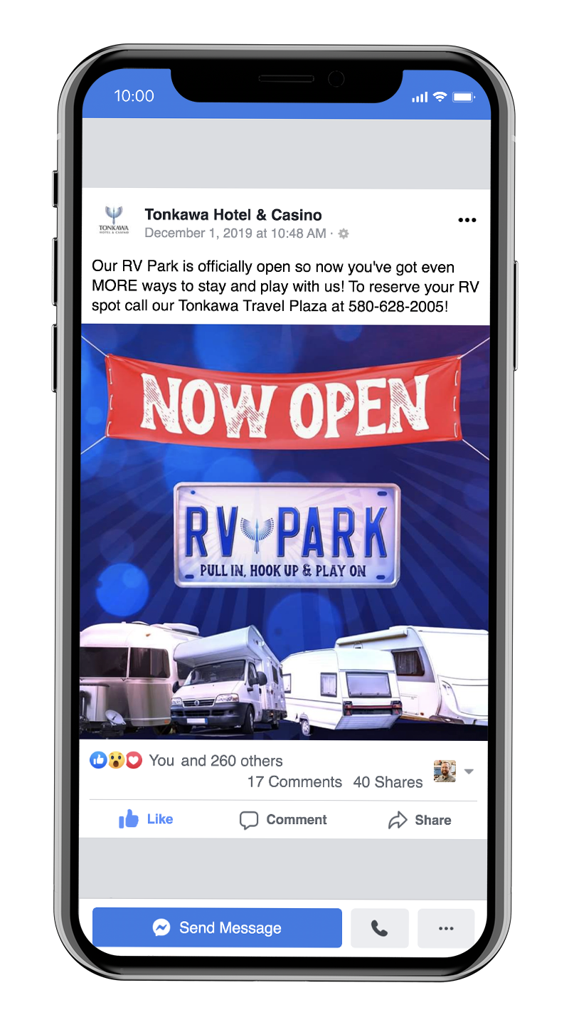 Marketing Tonkawa Hotel & Casino's new RV park