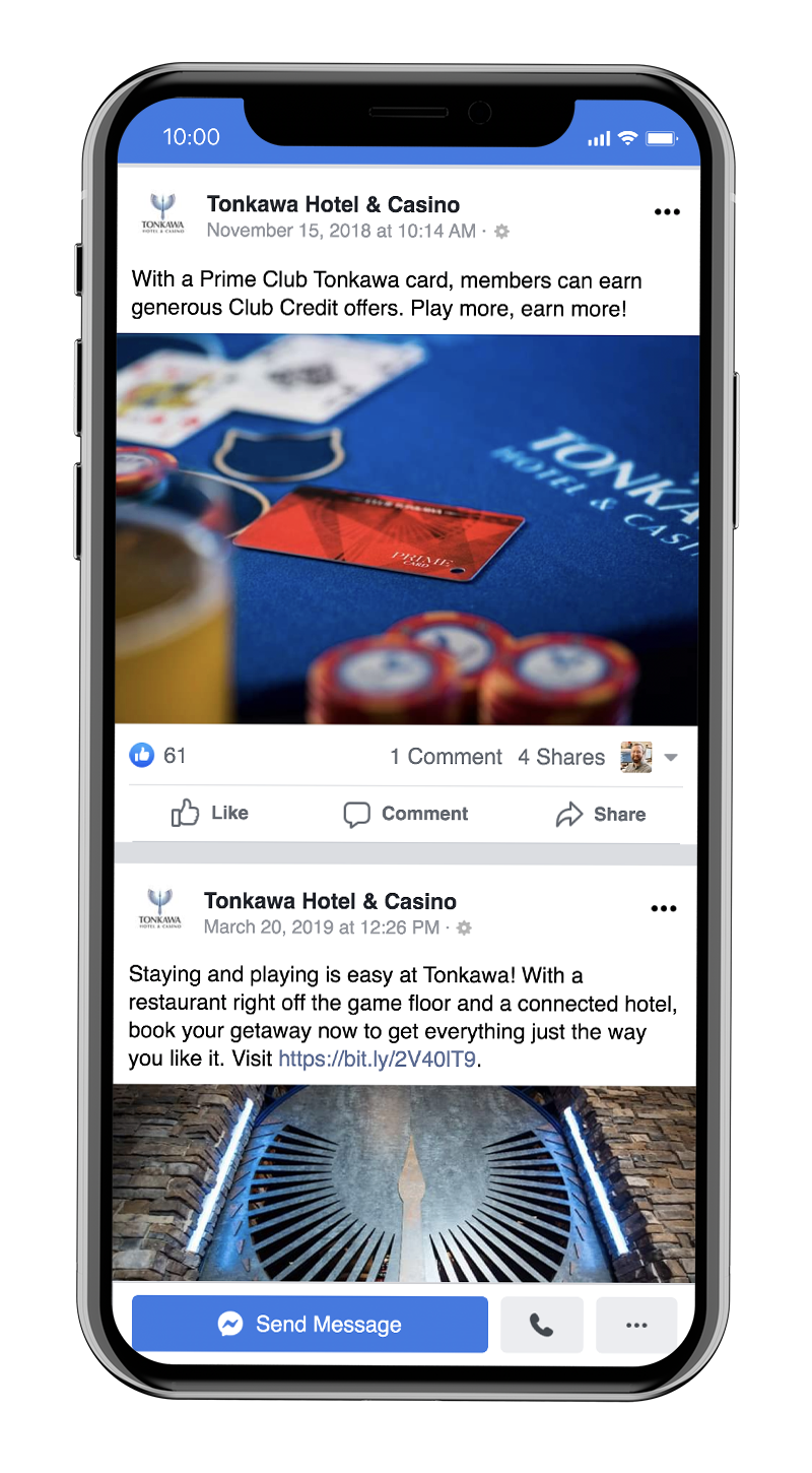 Players Club social media advertising for Tonkawa Hotel & Casino