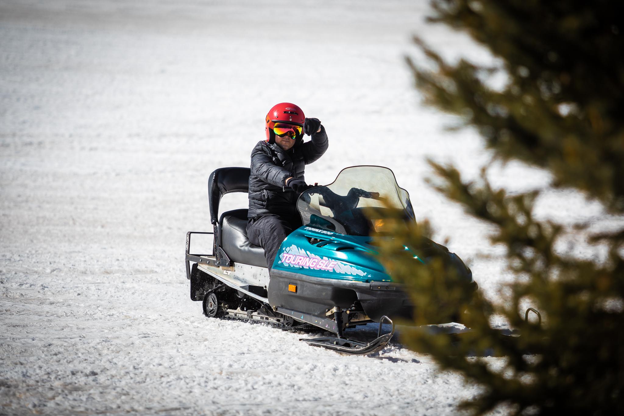 Matt on snow mobile